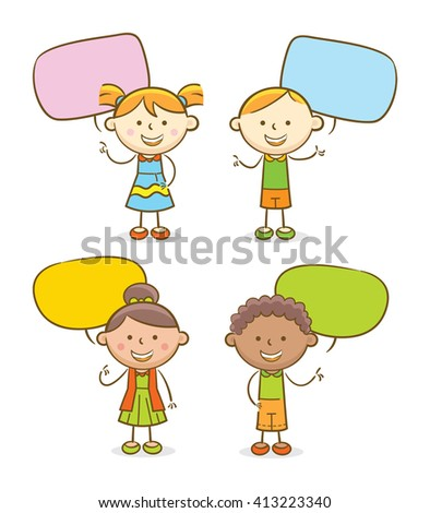 Doodle illustration: Set of kids with speech bubbles - stock vector