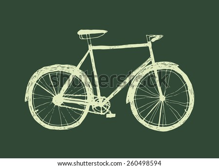 doodle illustration. sketch of bicycle - stock vector