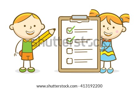 Doodle illustration: Students checking a to-do list item in a clipboard
