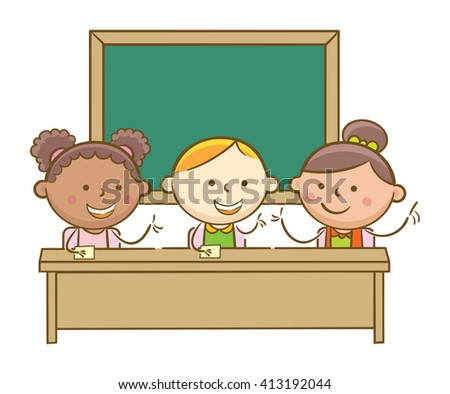 Doodle illustration: Students in a class discussing a lesson - stock vector