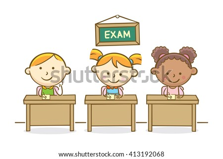 Doodle illustration: Students writing test in class - stock vector