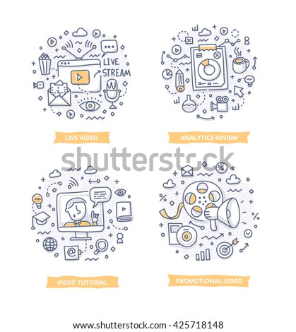 Doodle illustrations of online video marketing analytics, promotional video and video tutorial. Concepts of video marketing for telling brand story, explaining how-it-works process, company features - stock vector
