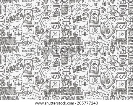 doodle internet web seamless pattern