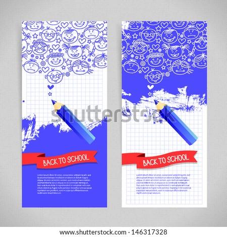 Doodle  kid cartoon banners. Back to school design - stock vector