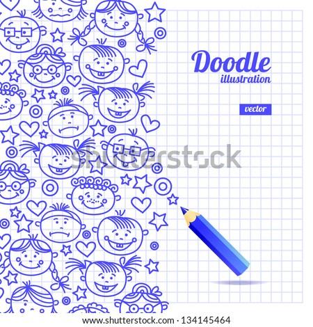 Doodle  kid cartoon design - stock vector