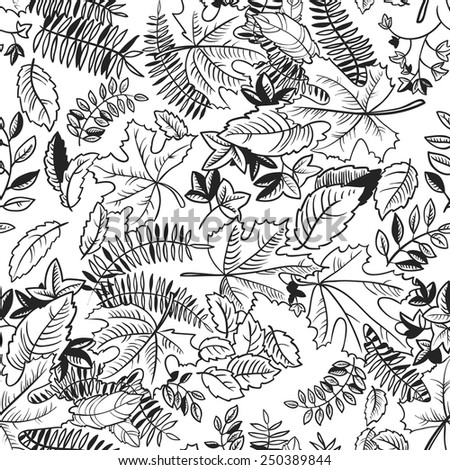 Doodle leaves monochrome seamless pattern - stock vector