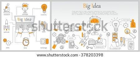 Doodle line design of web banner templates with outline icons of big idea, creative thinking. Modern vector illustration concept for website or infographics. - stock vector