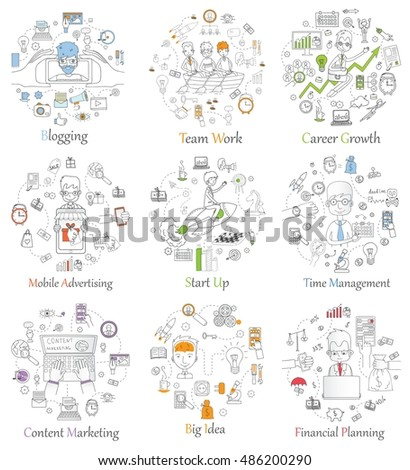 Doodle line design of web banner templates with outline icons of start up, blogging, mobile advertising team work, career growth and time management.