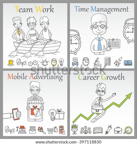 Doodle line design of web banner templates with outline icons of time management, career growth,mobile advertising, team work.Vector illustration concept for website or infographics.  - stock vector