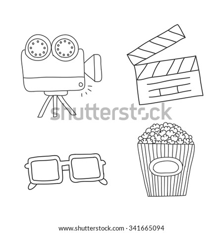 doodle line set of movie and cinema icons. vector illustration - stock vector