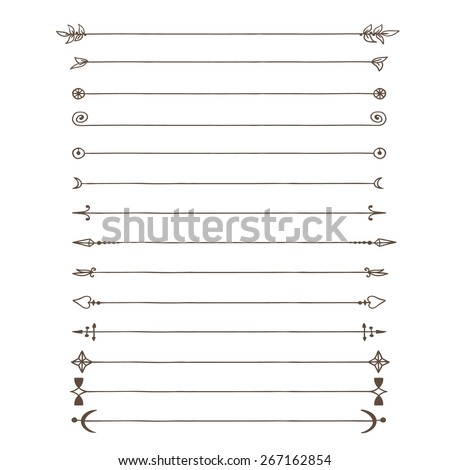 Doodle lines. Contains several lines with different edges. - stock vector