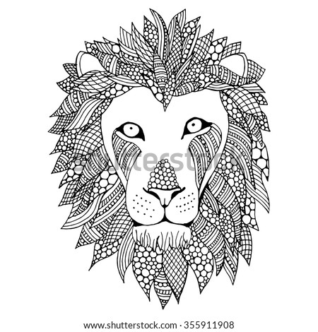 Doodle Lion head vector illustration. Black and white hand drawn head of a lion - stock vector