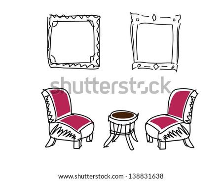 Doodle living room - stock vector