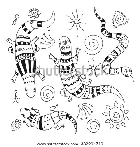 Doodle lizards, snake and decorative elements for design