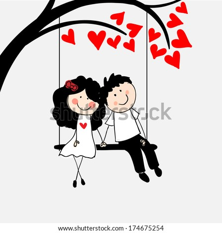 Doodle lovers on a swing.  - stock vector