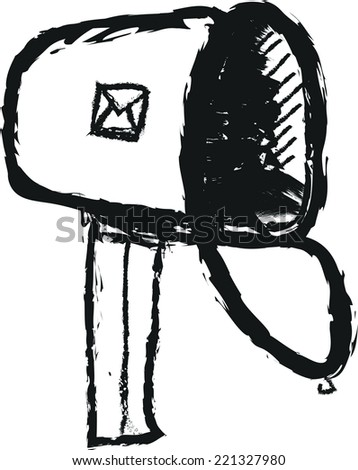 doodle mailbox  - stock vector