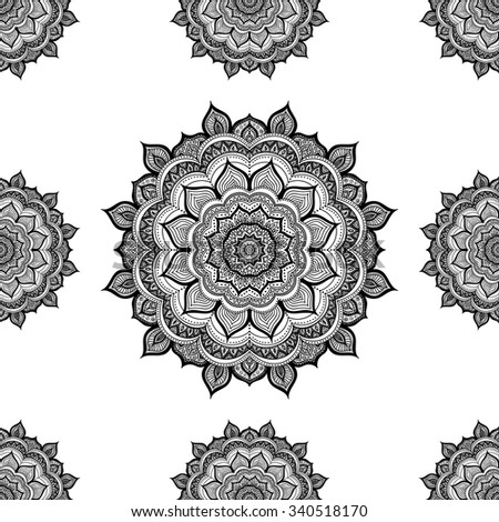 Doodle mandala. Vector seamless pattern with hand drawn doodle mandala. Indian tribal ornament. Black and white colors. Coloring page for coloring book. - stock vector