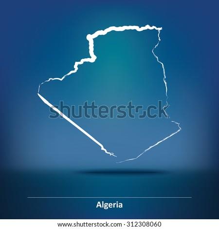 Doodle Map of Algeria - vector illustration - stock vector