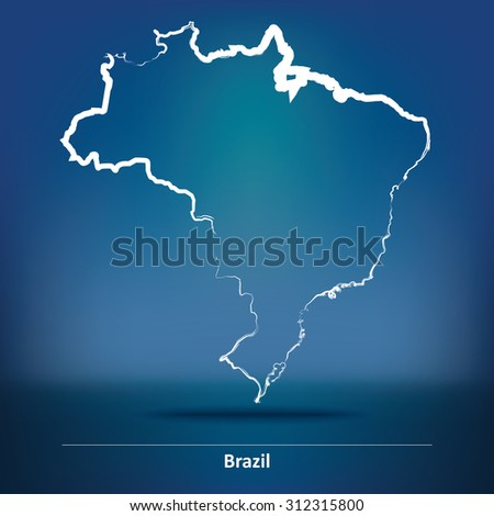Doodle Map of Brazil - vector illustration - stock vector