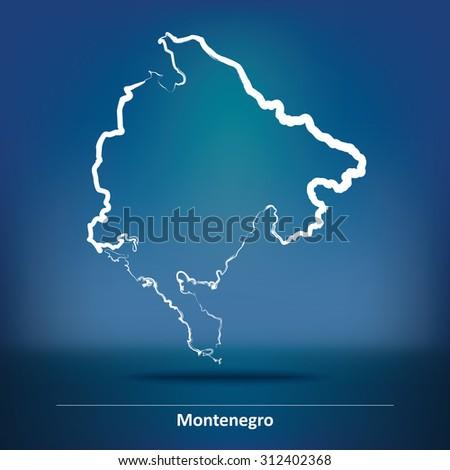Doodle Map of Montenegro - vector illustration - stock vector