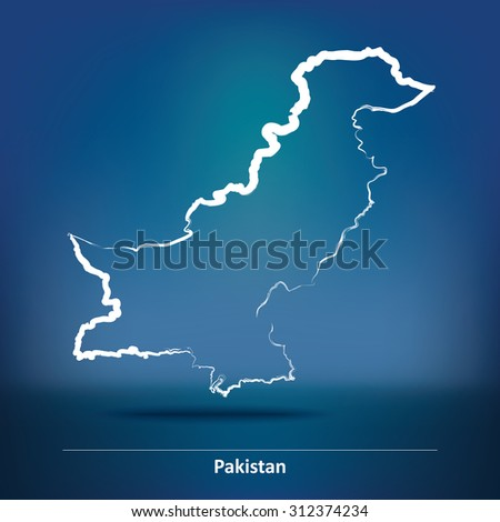 Doodle Map of Pakistan - vector illustration - stock vector