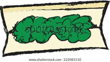 Doodle Marijuana Joint isolated on white vector - stock vector