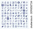 doodle Medical icons - stock vector