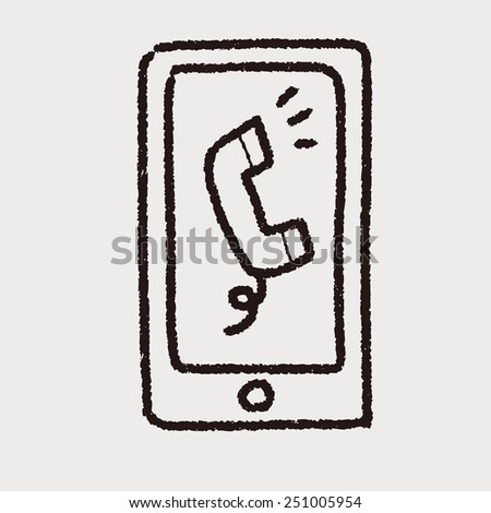 doodle mobile phone call - stock vector