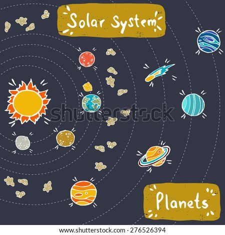 Doodle model of Solar System. Set of hand drawn doodle planets, Sun, comet and meteorites, isolated on purple background. - stock vector