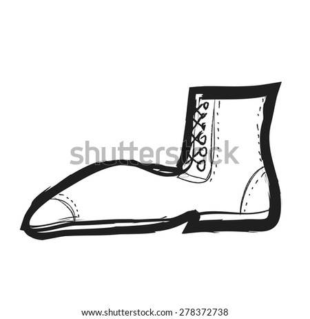 doodle modern boots, vector illustration icon - stock vector