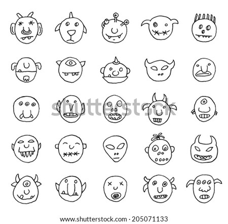 Doodle monster icon, vector illustration.