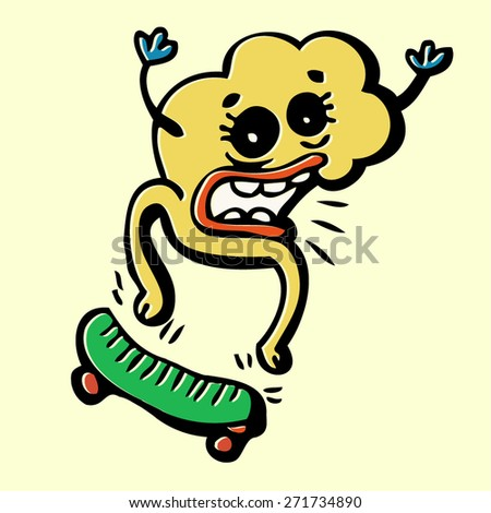 doodle monster on skateboard, colorful crazy character, isolated design element - stock vector
