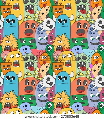 Doodle monsters seamless pattern in bright colors. - stock vector