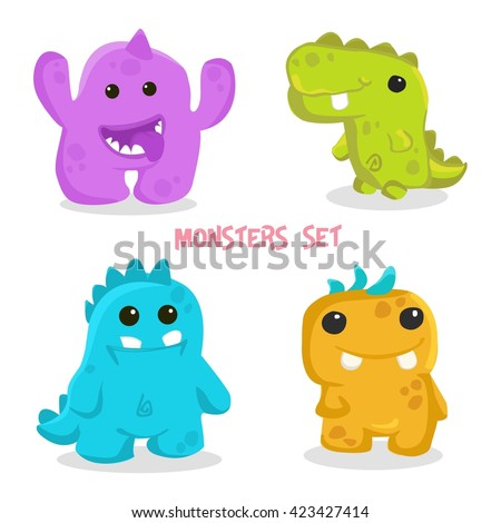 Doodle monsters set. Colorful toy monsters, cute alien monster, monster icon, monsters ui, monsters devil, monsters comic, monsters teeth, monster symbol, monster cute, monster. Vector monsters EPS 10