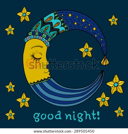 Doodle Moon for children design, colorful illustration, Vector - stock vector