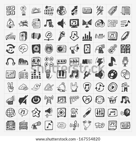 doodle music icons set - stock vector