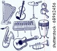Doodle musical instruments set, vector - stock vector