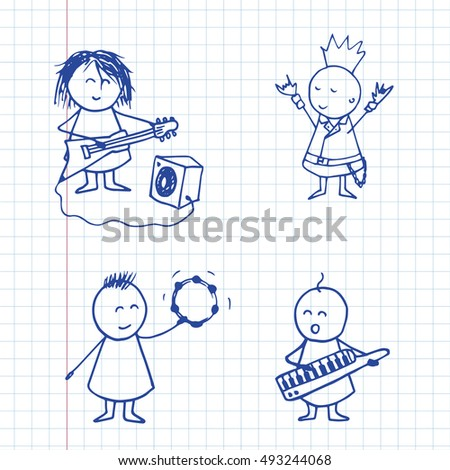 Doodle musicians rock group isolated on notebook page. Vector rock musicians.