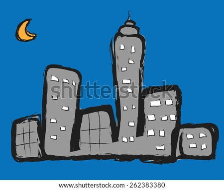 doodle night city, vector illustration  - stock vector
