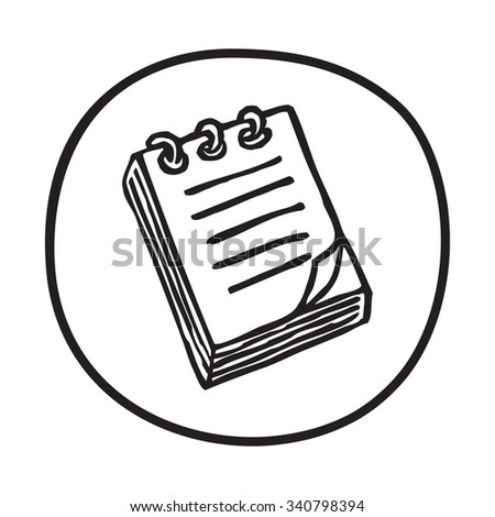 Doodle Notepad icon. Infographic symbol in a circle. Line art style graphic design element. Web button. Office supplies, taking notes concept.