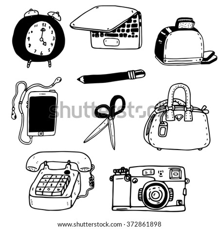 Doodle objects black and white vector collection