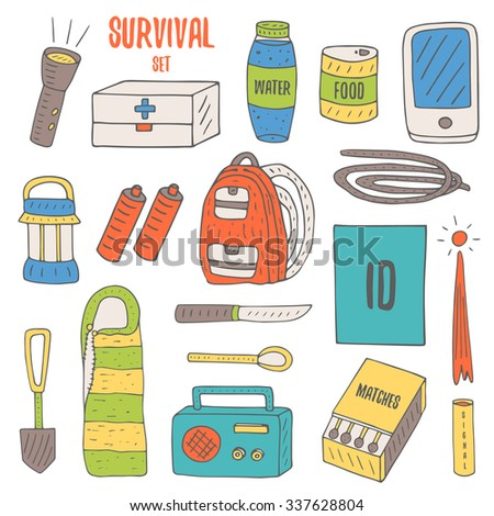 Doodle objects for survival in catastrophe, camping including lantern, backpack, radio, matches, emergency box, water bottle, canned food, rope, knife, phone, spoon, signal rocket, sleeping bag.
