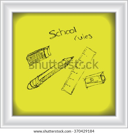 Doodle of a selection of school equipment