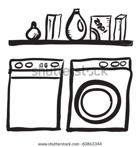 Washer And Dryer Clipart doodle washer dryer shelf laundry detergents stock vector 60863344