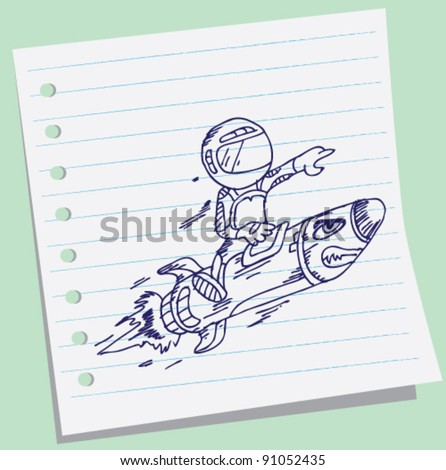 doodle of astronaut boy fly riding red fast rocket.