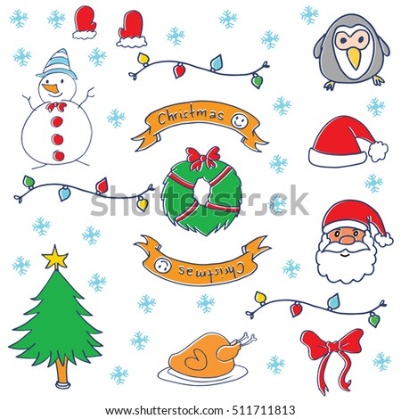 Doodle of christmas ornament vector