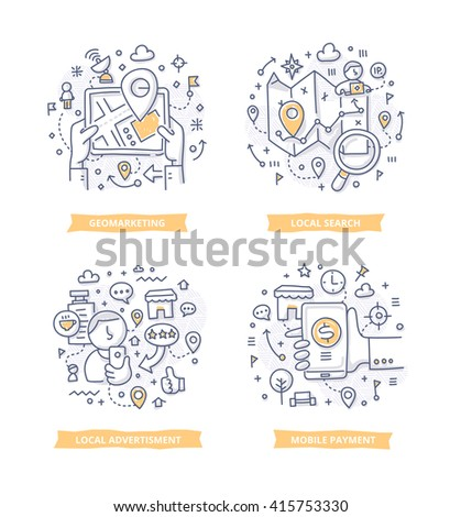 Doodle of geo targeting, location-based search and advertising using global-positioning technology. Digital marketing concept for telling brand story, explaining how-it-works process, company features - stock vector