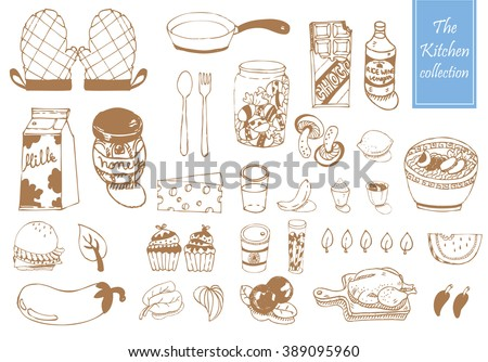 Doodle of Item in the kitchen collection pattern vector