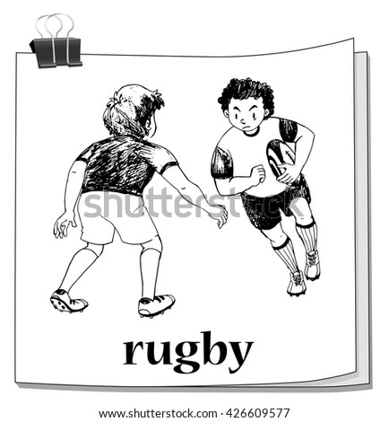 Doodle of people playing rugby illustration