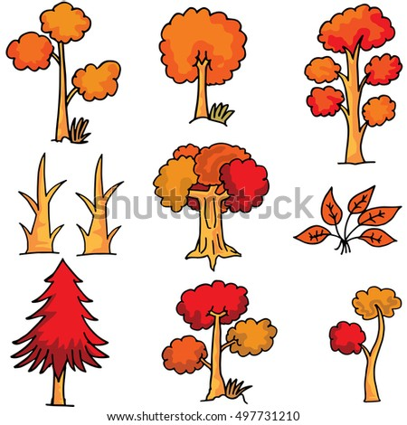 Doodle of red tree style collection vector illustration